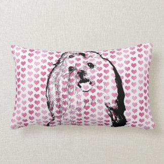 Valentines - Maltese Silhouette Lumbar Pillow