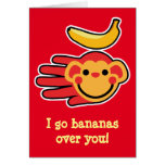 Hand shaped Valentine's monkey I go bananas over you Cards