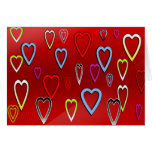 Valentines Multi-colored Hearts on Red Card