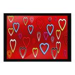 "Valentines Multi-colored Hearts on Red 5"" X 7"" Invitation Card"