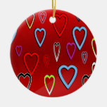 Valentines Multi-colored Hearts on Red Christmas Tree Ornaments