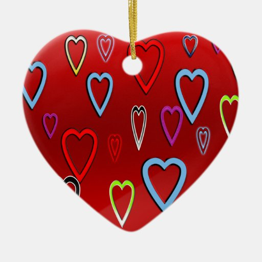 Valentines Multi-colored Hearts on Red Ornament