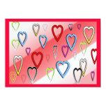 """Valentines Multicolored Hearts 5"""" X 7"""" Invitation Card"""