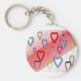 Valentines Multicolored Hearts Keychain