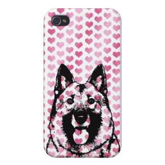 Valentines - Norwegian Elkhound Silhouette Cover For iPhone 4