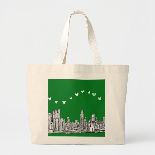 valentines NYC in green Large Tote Bag