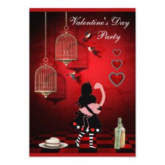 Valentine's Party Alice & Flamingo Birds & Cages Card