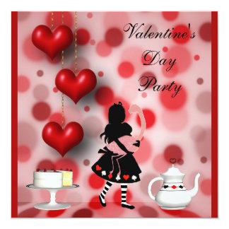 Valentine's Party Alice & Flamingo Retro Hearts Card