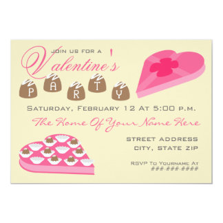 Valentine's Party Invite - Box Of Chocolate Candy