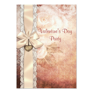 Valentine's Party Vintage Damask Roses & Bow 5x7 Paper Invitation Card