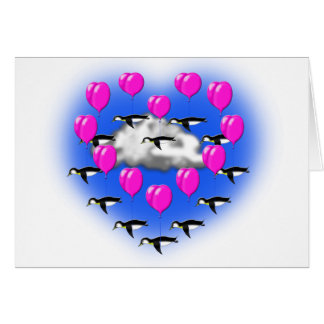 valentines penguins , heartshaped flying card
