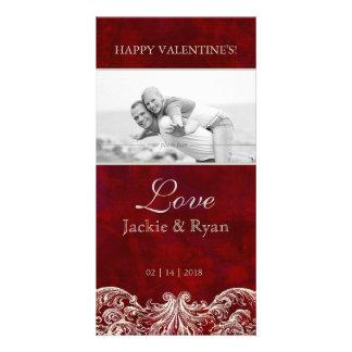 Valentine's Photo Card Template Red Rose Garden