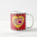 Hand shaped Valentine's Pig mug