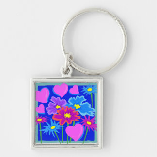 Valentines Pink and Blue Flowers and Hearts Keychain