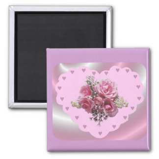 VALENTINES PINK SWIRL HEART 2 INCH SQUARE MAGNET