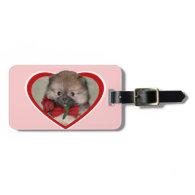 Valentine's pomeranian puppy travel bag tag