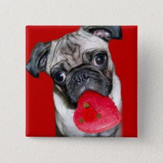 Valentine's pug button