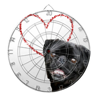 Valentine's pug dog dartboard
