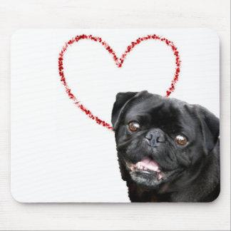 Valentine's pug dog mouse pad