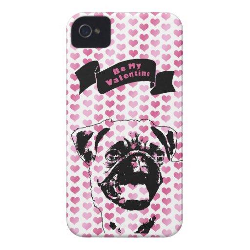 Valentines - Pug Silhouette Blackberry Bold Cases