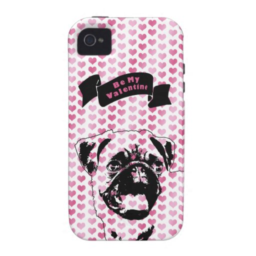 Valentines - Pug Silhouette iPhone 4/4S Covers