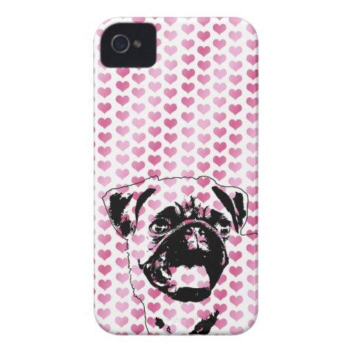 Valentines - Pug Silhouette Case-Mate iPhone 4 Cases