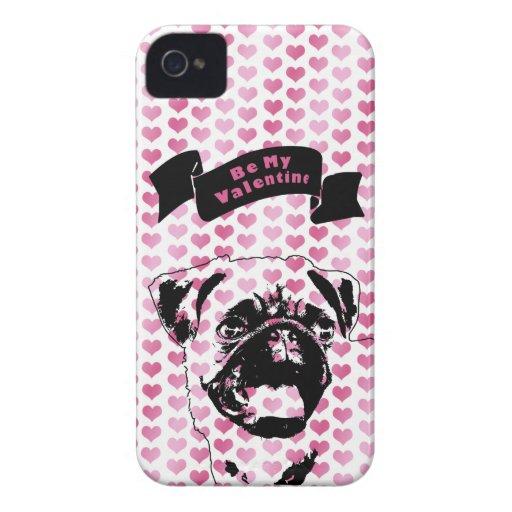 Valentines - Pug Silhouette iPhone 4 Case-Mate Cases