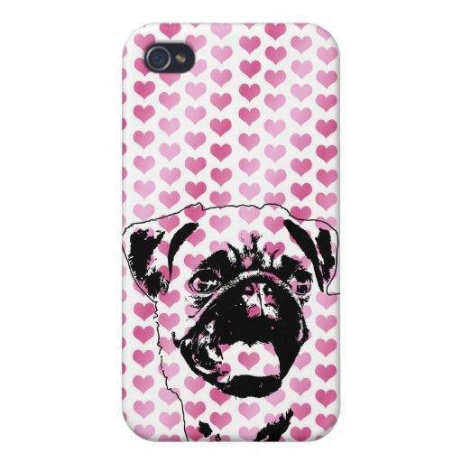 Valentines - Pug Silhouette iPhone 4/4S Cases
