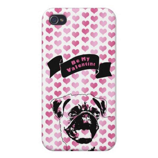 Valentines - Pug Silhouette iPhone 4 Case