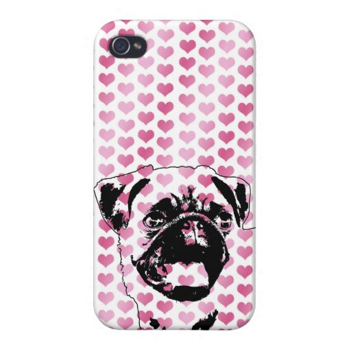 Valentines - Pug Silhouette Cover For iPhone 4