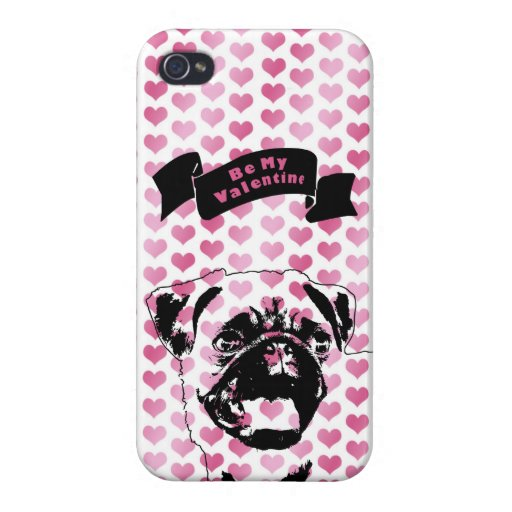 Valentines - Pug Silhouette Case For iPhone 4