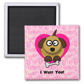 Valentines Puppy Love - I Wuff You 2 Inch Square Magnet