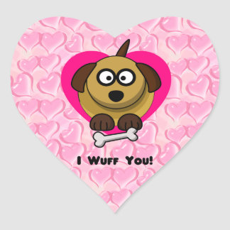 Valentines Puppy Love - I Wuff You Heart Sticker