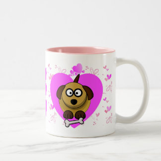 Valentines Puppy Love - I Wuff You Two-Tone Coffee Mug