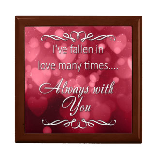 """Valentine's Red Bokeh Hearts """"Always You"""" Gift Box"""