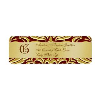 Valentines Red Damask Gold Metal Address Label