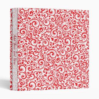 Valentines - Red Hearts and Swirls Seamless Binder