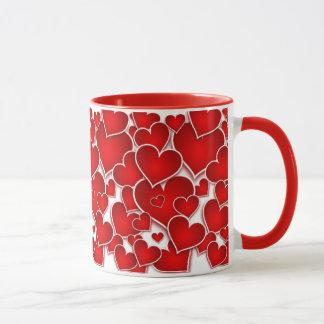 Valentines Red Hearts Mug