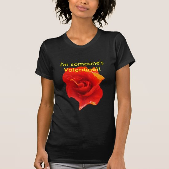 Valentines Red Rose Heart - ladies petite t-shirt