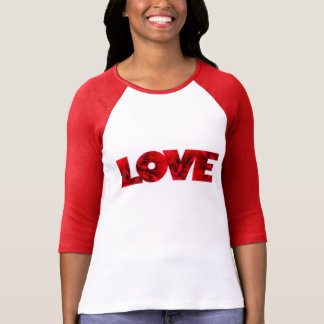 Valentines Red Rose petals LOVE text T-Shirt