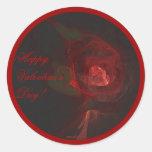 VALENTINE'S ROSE ~ On Black Round Stickers