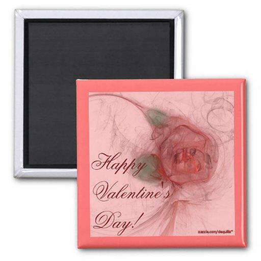 VALENTINE'S ROSE ~ On Pink 2 Inch Square Magnet