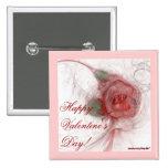 VALENTINE'S ROSE ~ On White 2 Inch Square Button