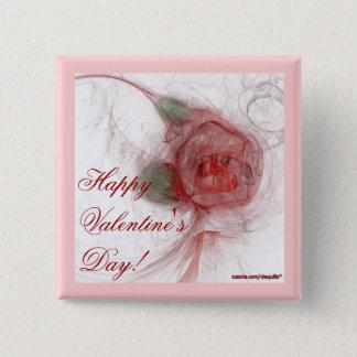 VALENTINE'S ROSE ~ On White Pinback Button