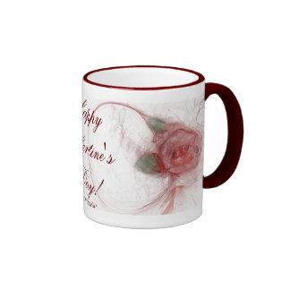 VALENTINE'S ROSE ~ On White Ringer Coffee Mug