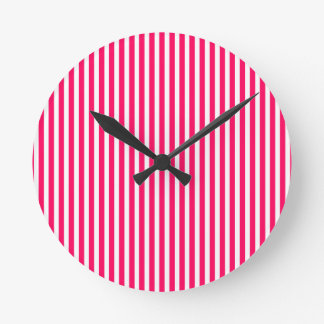 Valentines Rose Pink and White Stripes Wall Clocks