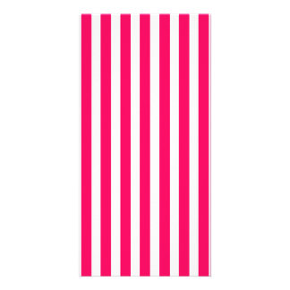 Valentines Rose Pink and White Stripes Photo Card