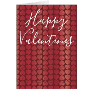 Valentines Rosy Red Hearts Card