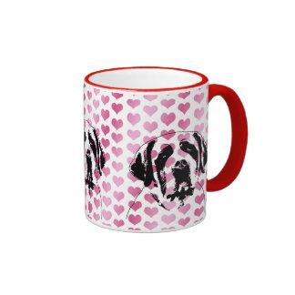 Valentines - Saint Bernard Silhouette Mugs