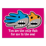 Hand shaped Valentine's shark you are the only fish for me cards